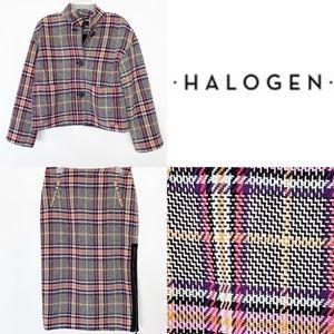 Halogen Plaid 2 Piece Skirt Blazer Suit Set Small